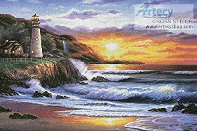 cross stitch pattern Lighthouse at Sunset
