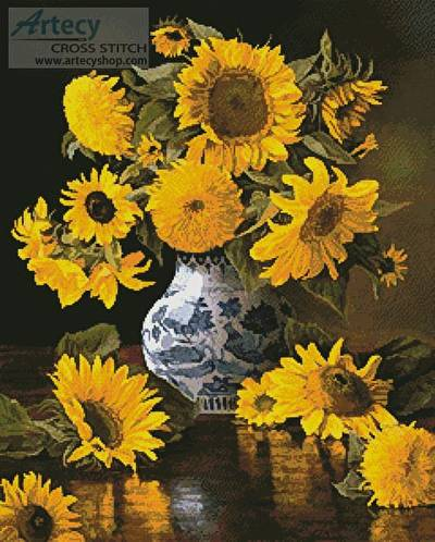 cross stitch pattern Sunflowers in a Blue and White Vase