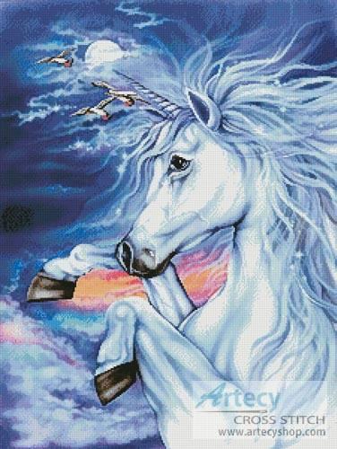 cross stitch pattern Unicorn in the Moonlight