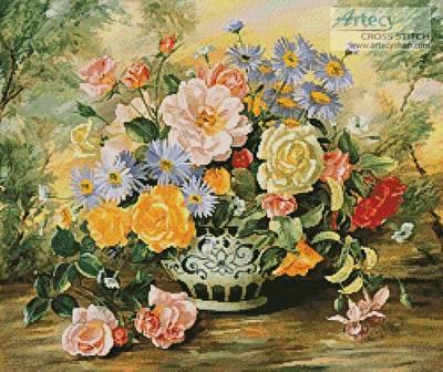 cross stitch pattern Vintage Blooms