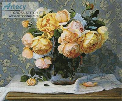cross stitch pattern Vase of Roses