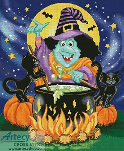 cross stitch pattern Witches Brew