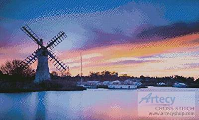cross stitch pattern Windmill at Dawn
