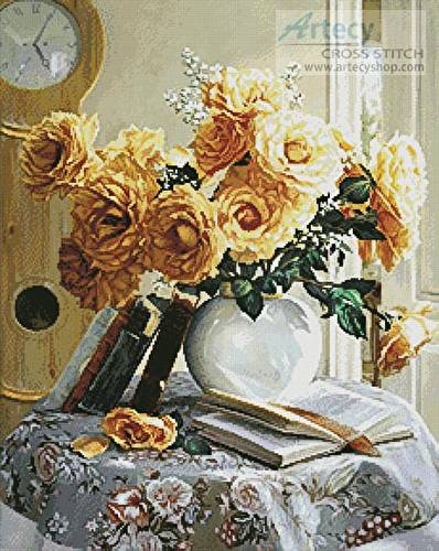 cross stitch pattern Yellow Roses Painting