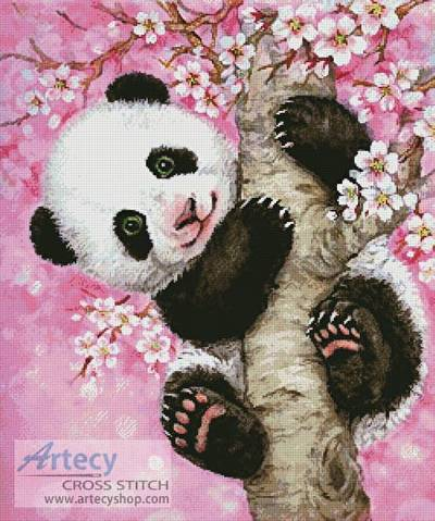 cross stitch pattern Cherry Blossom Panda