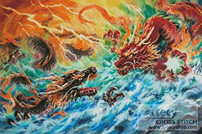 cross stitch pattern Encountering Dragons