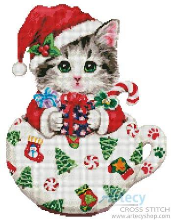 cross stitch pattern Christmas Kitty Cup