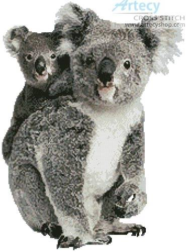 cross stitch pattern Koala and Joey