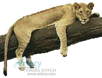 cross stitch pattern Lazy Lioness