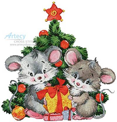 cross stitch pattern Cute Christmas Mice