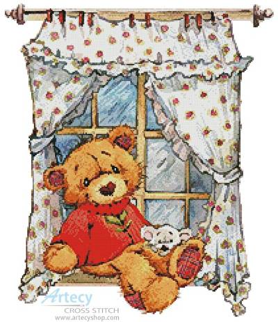 cross stitch pattern Teddy at Window