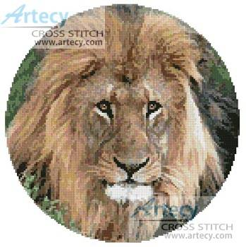 cross stitch pattern Lion Head Circle