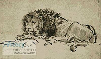 cross stitch pattern Lion Lying Down