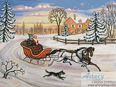 cross stitch pattern Sleigh Ride