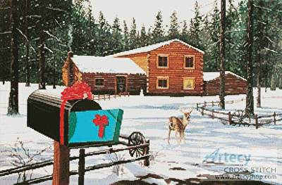 cross stitch pattern Christmas in Big Bear