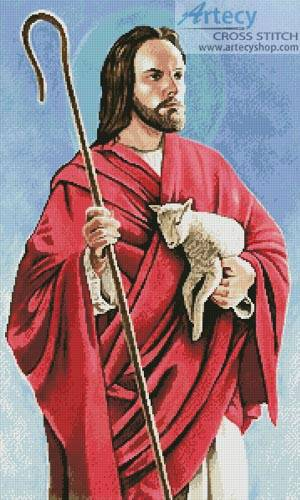 cross stitch pattern Christ the Good Shepherd