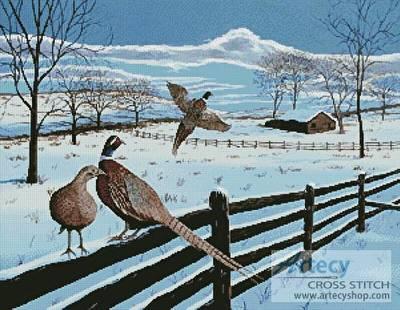 cross stitch pattern Pheasants in Winter