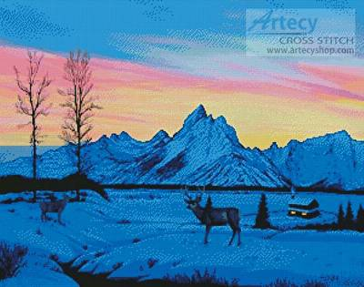 cross stitch pattern Teton Sunset in Winter