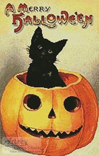 cross stitch pattern Merry Halloween