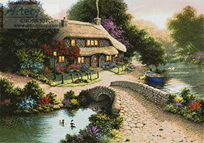 cross stitch pattern Bridge Cottage