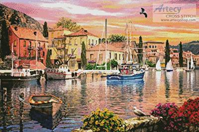 cross stitch pattern Harbour Sunset