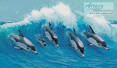 cross stitch pattern Leaping Dolphins