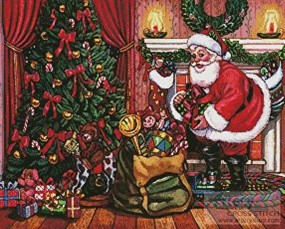 cross stitch pattern Santa on Christmas Eve