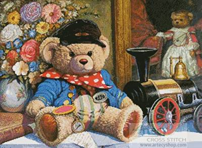 cross stitch pattern Teddy and Locomotive