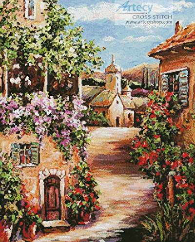 cross stitch pattern Toscana Village