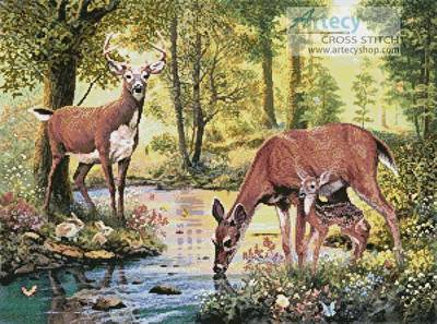 cross stitch pattern Woodland Stream