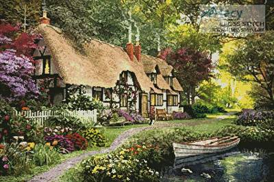 cross stitch pattern Woodland Walk Cottage