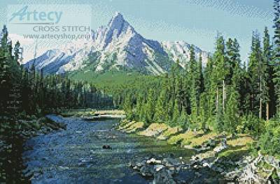 cross stitch pattern Mountain Stream