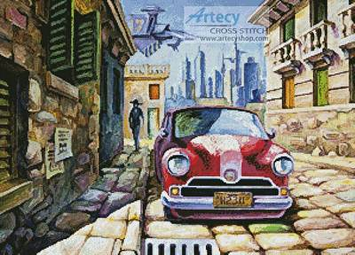 cross stitch pattern Old Red Car in a Sunny Street