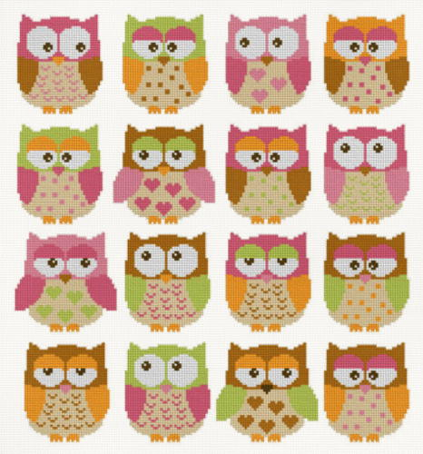 cross stitch pattern Owls