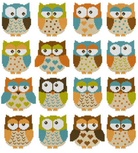 cross stitch pattern Owls 2