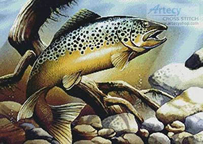 cross stitch pattern Brown Trout