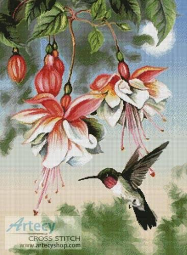 cross stitch pattern Fuchsia and Hummingbird