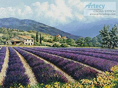 cross stitch pattern Fields of Lavender