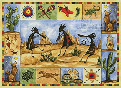 cross stitch pattern Kokopelli Sampler