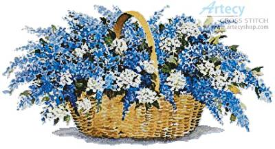 cross stitch pattern Lilac Basket