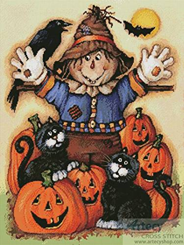 cross stitch pattern Scarecrow's Halloween Pumpkin Patch