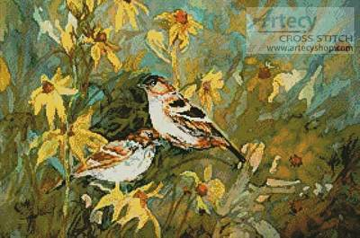 cross stitch pattern Sparrows in a Field