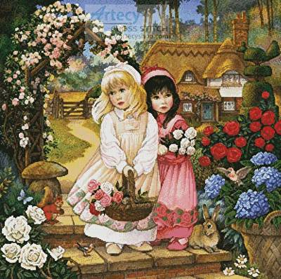 cross stitch pattern Snow White and Rose Red