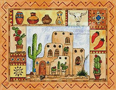 cross stitch pattern Southwest Sampler