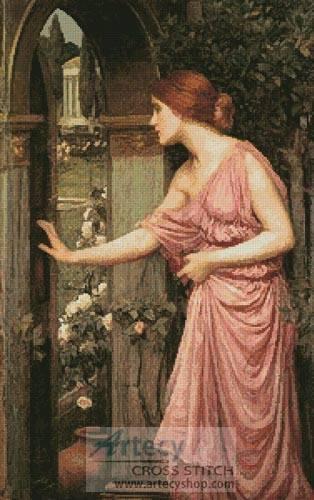 cross stitch pattern Psyche entering Cupid's Garden
