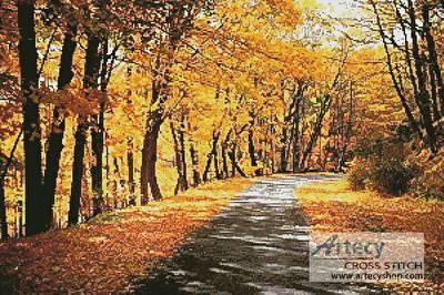 cross stitch pattern Path Through Autumn Trees