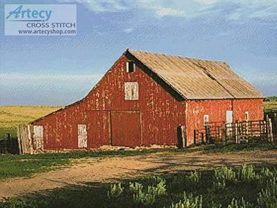 cross stitch pattern Red Barn on a Farm