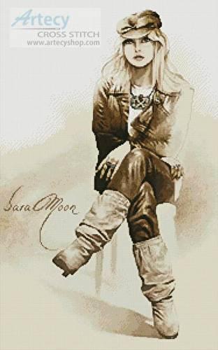cross stitch pattern Rocker Girl - Sara Moon