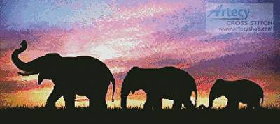 cross stitch pattern Silhouettes of Elephants at Sunset