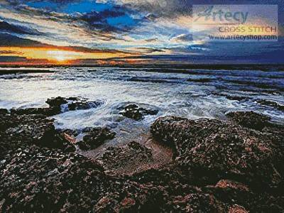 cross stitch pattern Seascape at Miramar, Argentina
